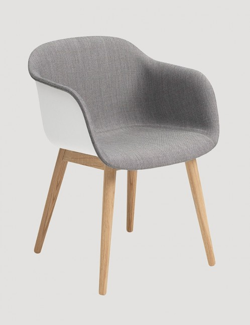 FIBER CHAIR WOOD BASE FRONT UPHOLSTERY